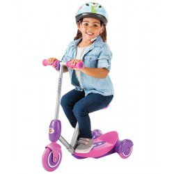 Razor Lil' E Electric Scooter Seated Pink