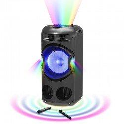 Akai DJ-BY4L Φορητό ηχείο Bluetooth karaoke με μίκτη, LED και ασύρματο μικρόφωνο – 120 W RMS