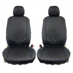 Ημικαλύμματα αυτοκινήτου δερματίνη Royal ζευγάρι 2τμχ μπροστινά μαύρα