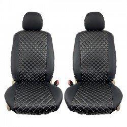 Ημικαλύμματα αυτοκινήτου δερματίνη Royal ζευγάρι 2τμχ μπροστινά μαύρα με γκρι ραφή