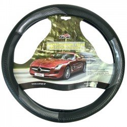 Κάλυμμα τιμονιού αυτοκινήτου δερματίνη X-Treme sport μαύρο-carbon medium 38cm