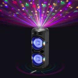 Akai DJ-Y5L Φορητό ηχείο Bluetooth karaoke με μίκτη, LED και ασύρματο μικρόφωνο – 350 W RMS