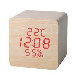 Telco Ξύλινο ψηφιακό ρολόι με ένδειξη θερμοκρασίας και υγρασίας ET515B