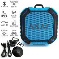 Akai ABTS-B7 Αδιάβροχο ηχείο Bluetooth με ραδιόφωνο, micro SD και AUX-In – 3 W