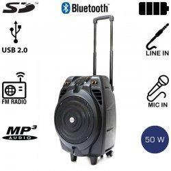 Akai SS023A-X10 Φορητό ηχείο Bluetooth με ενισχυτή, USB, SD, ασ. μικρόφωνο και ρόδες – 50 W RMS