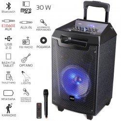 Akai ABTS-AW8 Ηχείο karaoke με Bluetooth, LED, ασύρματο μικρόφωνο και υποδοχή για μικρόφωνο και όργανο – 30 W RMS