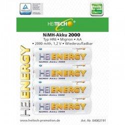 Heitech 04002191 Επαναφορτιζόμενες μπαταρίες Ni-Mh 4 τμχ HR6 MIGNON AA 2000 mAh 1.2 V