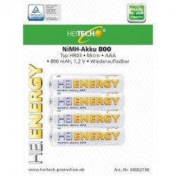 Heitech 04002190 Επαναφορτιζόμενες μπαταρίες Ni-Mh 4 τμχ HR03 Micro AAA 800 mAh 1.2 V