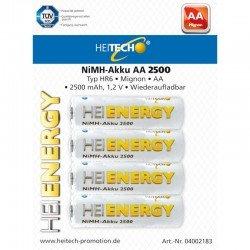 Heitech 04002183 Επαναφορτιζόμενες μπαταρίες Ni-Mh 4 τμχ HR6 Mignon AA 2500 mAh 1.2 V
