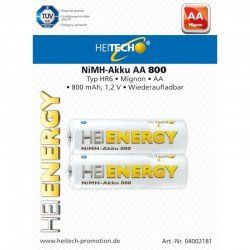 Heitech 04002181 Επαναφορτιζόμενες μπαταρίες Ni-Mh 2 τμχ HR6 Mignon AA 800 mAh 1.2 V