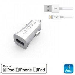 Energizer DCA1ACLI3 Λευκός Φορτιστής αυτοκινήτου με καλώδιο Lightning για iPhone iPad iPod