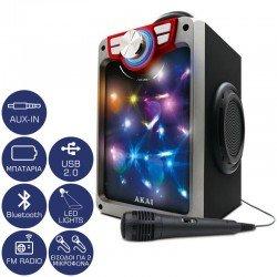 Akai CEU7300-BT Φορητό ηχείο Bluetooth karaoke με LED, μικρόφωνο, FM, USB και Aux-In – 6 W
