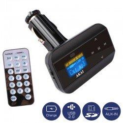 Akai FMT-30 FM transmitter και φορτιστής αυτοκινήτου με USB, κάρτα SD και Aux-In