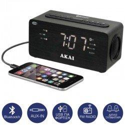 Akai ACR-2993 Ψηφιακό ξυπνητήρι με Bluetooth, Aux-In, USB για φόρτιση κινητού και διπλή αφύπνιση