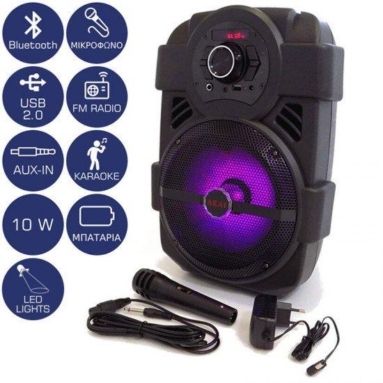Akai ABTS-808L Φορητό ηχείο Bluetooth με LED, USB, Aux-In και μικρόφωνο – 10 W